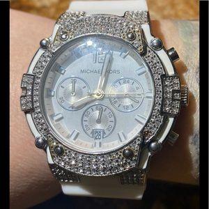 White Michael Kors Rubber Glitz Pave Crystal Watch